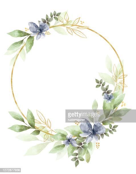 水彩画フローラルクリップアート。結婚式の招待状の要素。 - 月桂冠点のイラスト素材/クリップアート素材/マンガ素材/アイコン素材