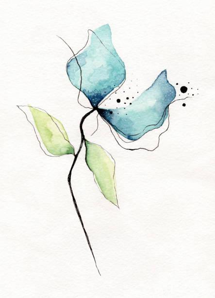 watercolor flower - pastel stock illustrations