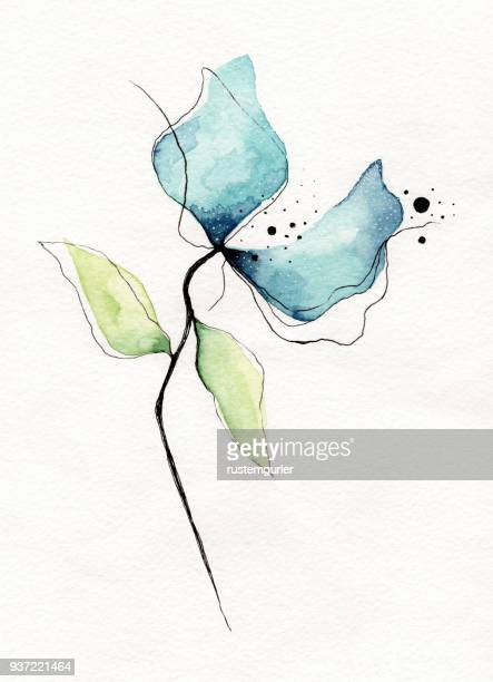 watercolor flower - in bloom stock illustrations, clip art, cartoons, & icons