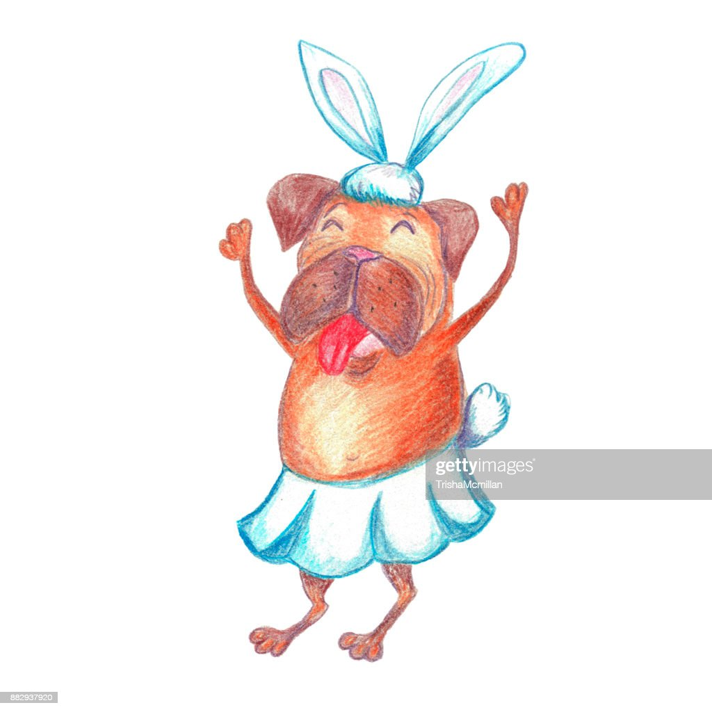 Watercolor Funny Dancing Pug In Carnival Costume Happy New Year ...