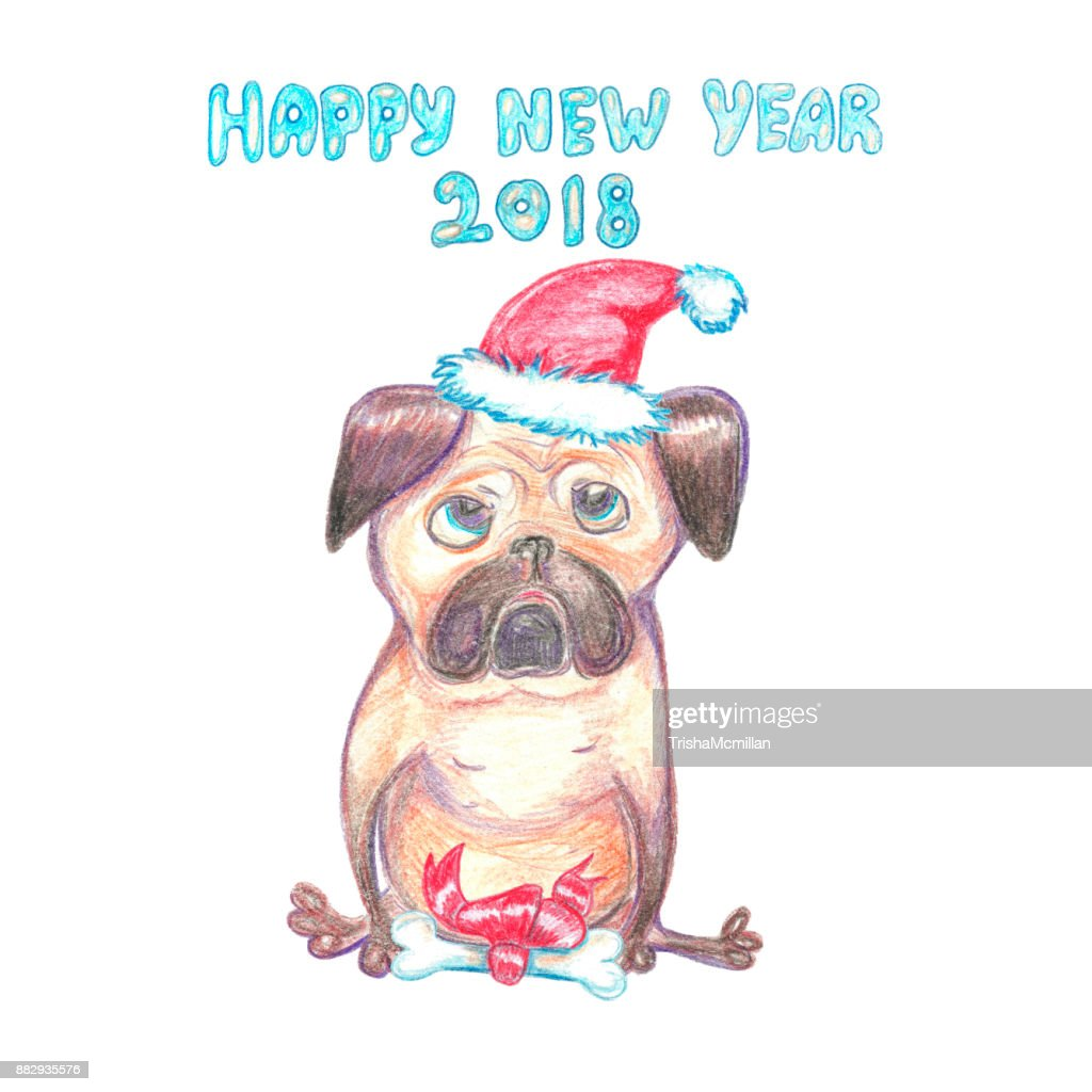 Watercolor Funny Pug In Santa Claus Hat Happy New Year Greeting Card ...