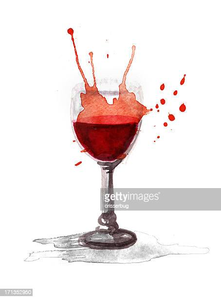 watercolor glass of wine - wine stock illustrations