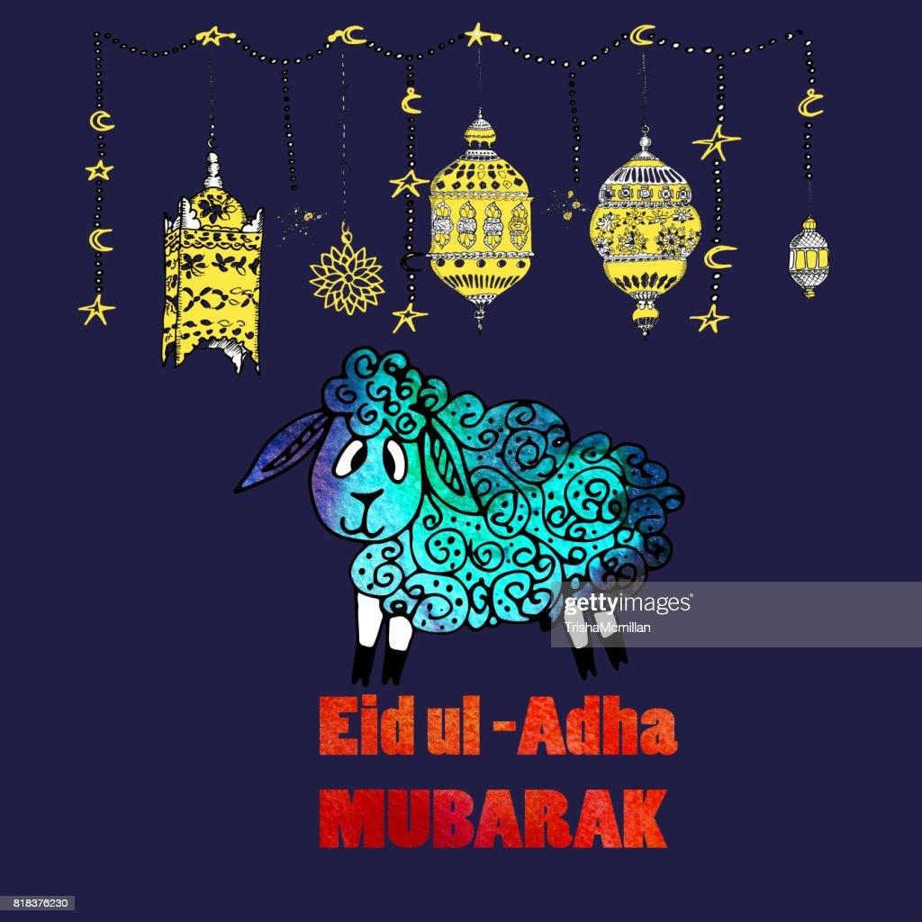 Watercolor greeting card of eid al adha mubarak feast of sacrifice watercolor greeting card of eid al adha mubarak feast of sacrifice famous festival of m4hsunfo