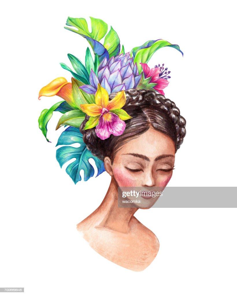 Watercolor illustration beautiful young woman portrait wearing watercolor illustration beautiful young woman portrait wearing tropical flowers crown wild jungle izmirmasajfo