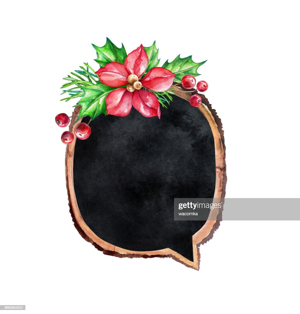 Watercolor Illustration Decorated Wood Slice Christmas Rustic Background Round Blank Banner Black