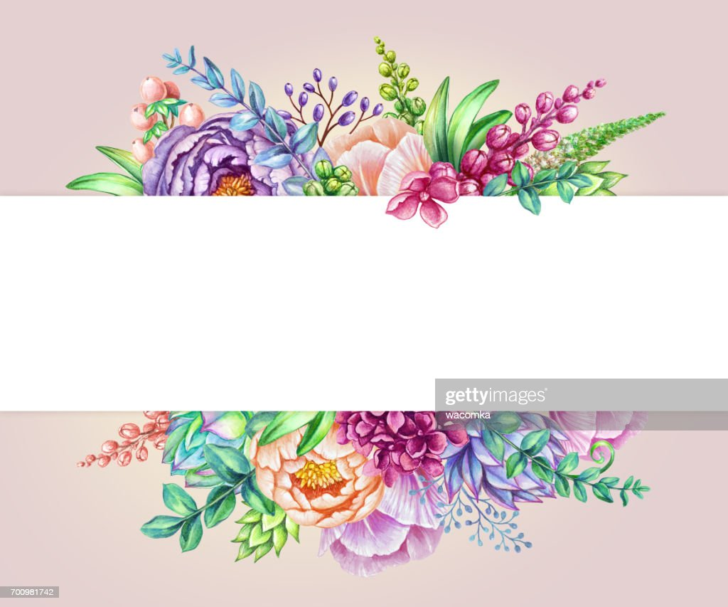 Watercolor Illustration Floral Background Wild Flowers Bouquet Wedding Invitation Blank Greeting Card Template Pink Rose Horizontal Banner High Res Vector Graphic Getty Images