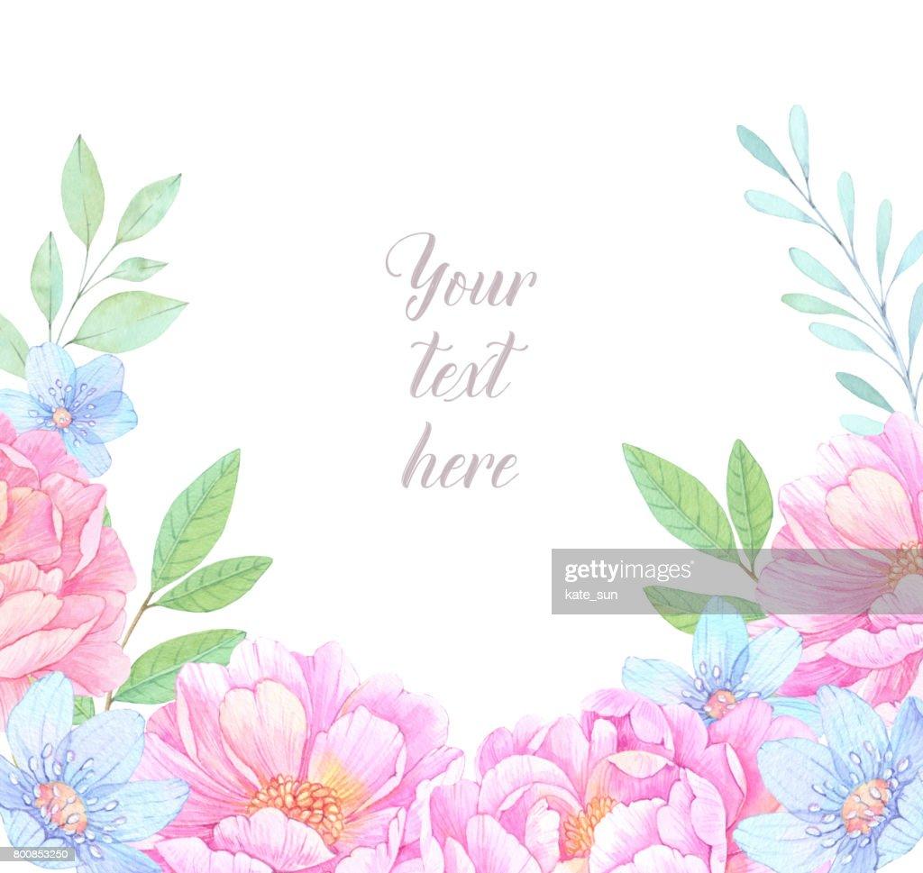 Aquarell Bild Blumenrahmen Mit Pfingstrosen Blumen Hochzeit