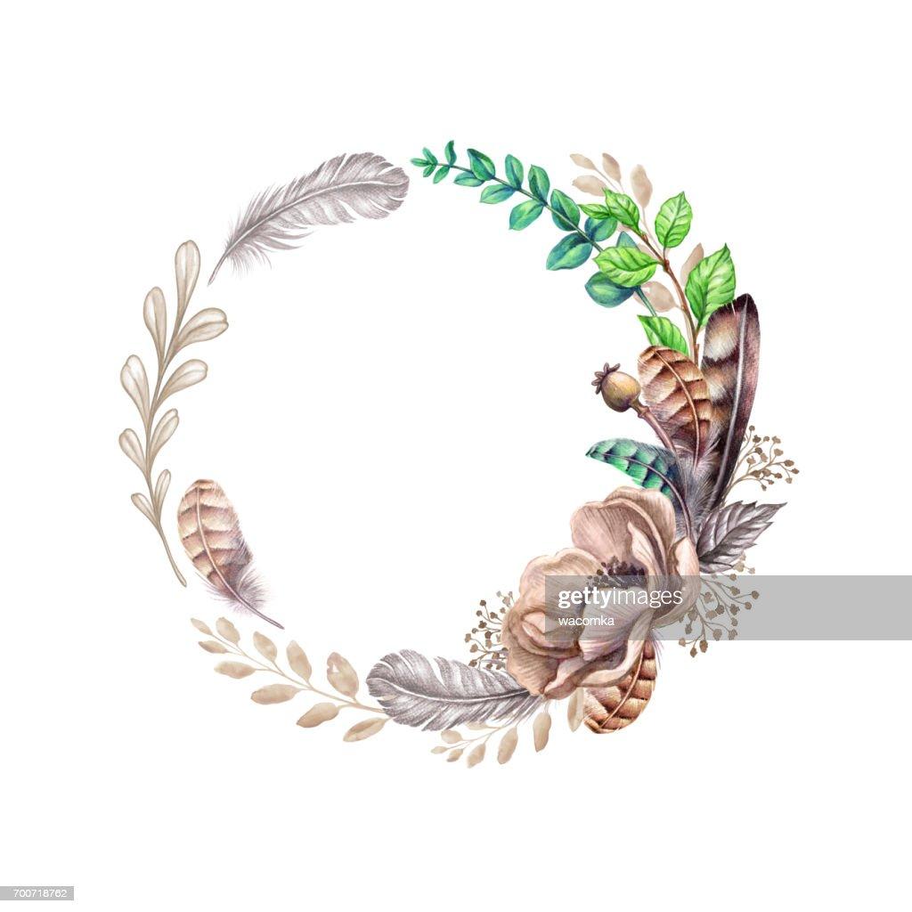 Aquarell Bild Blumen Blatter Und Federn Rustikale Floral Clipart
