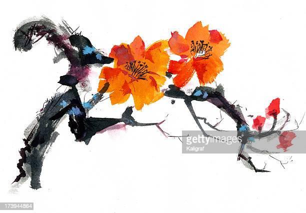 Watercolor illustration of an orange wild rose blossom