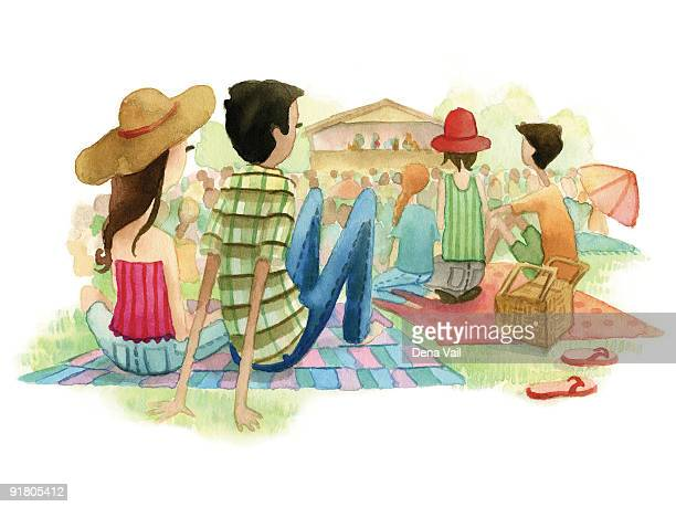 a watercolor illustration of people at an outdoor music festival - picnic blanket stock illustrations, clip art, cartoons, & icons