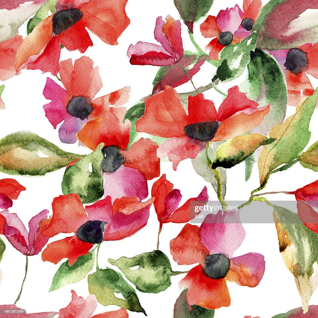 Watercolor Illustration With Poppy Flowers Stock Illustration