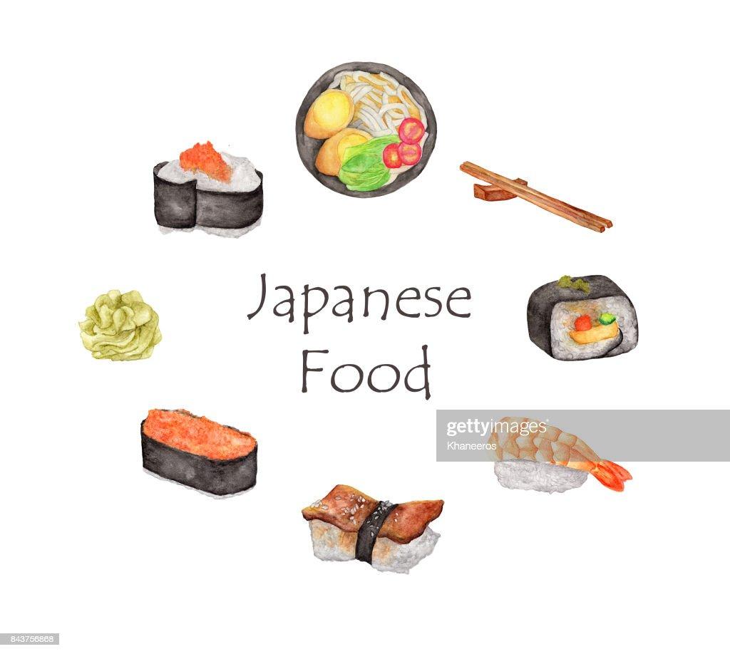 Aquarell Japanisches Essen Rahmen Runde Rahmen Mit Hand Zeichnen ...