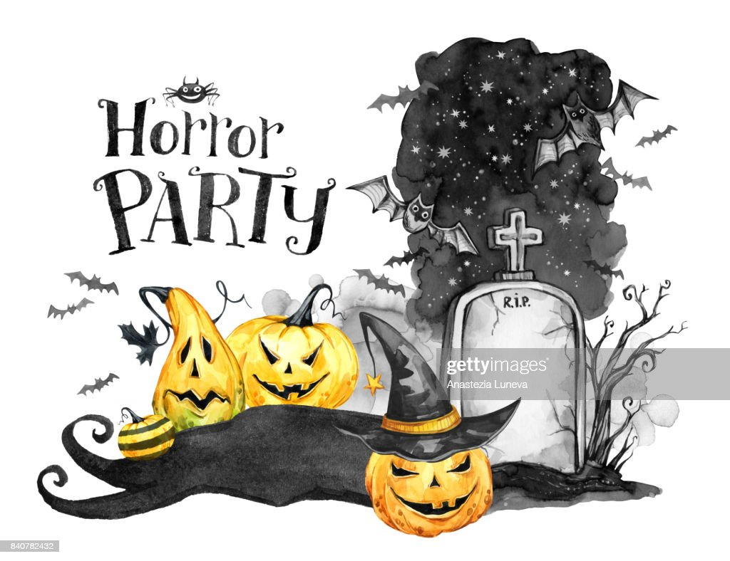 Watercolor Landscape Old Grave Holidays Pumpkins And Flock Of Bats ...