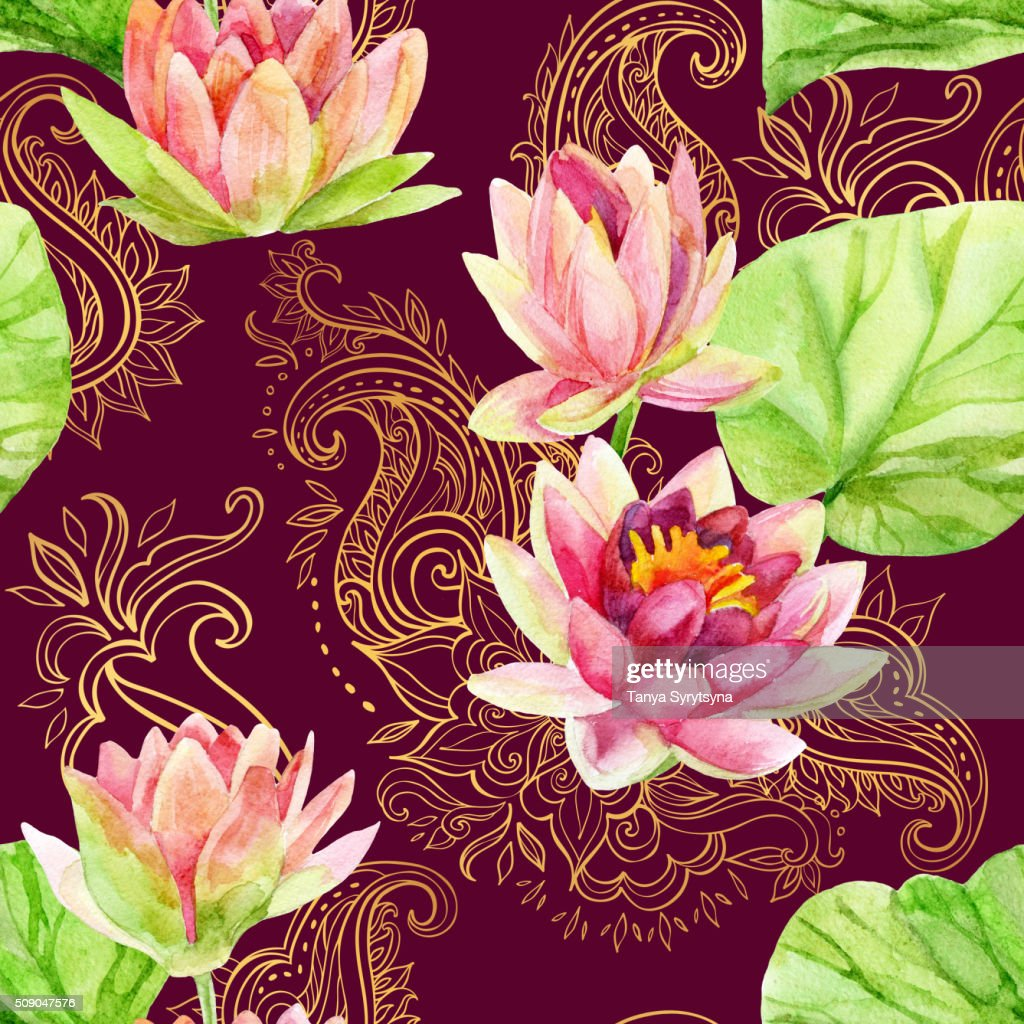 Watercolor Lotus Flower On Golden Ornament Seamless Pattern Stock