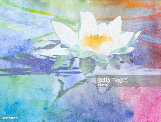 watercolor lotus - lily stock illustrations, clip art, cartoons, & icons