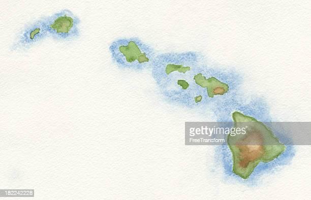 Watercolor Map of Hawaii