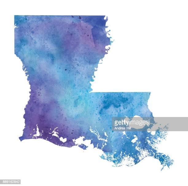 ilustrações, clipart, desenhos animados e ícones de mapa em aquarela de louisiana em azul e roxo - ilustração de raster - estados da costa do golfo