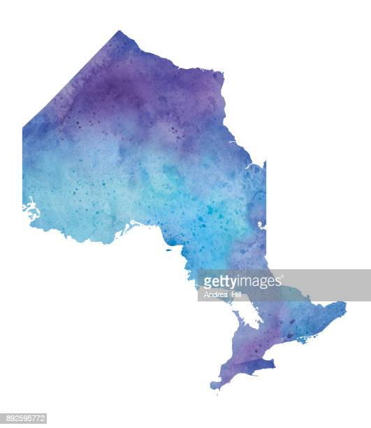 Watercolor Map of Ontario in Blue and Purple - Raster Illustration
