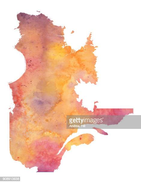 Watercolor Map of Quebec in Orange, Yellow and Purple - Raster Illustration