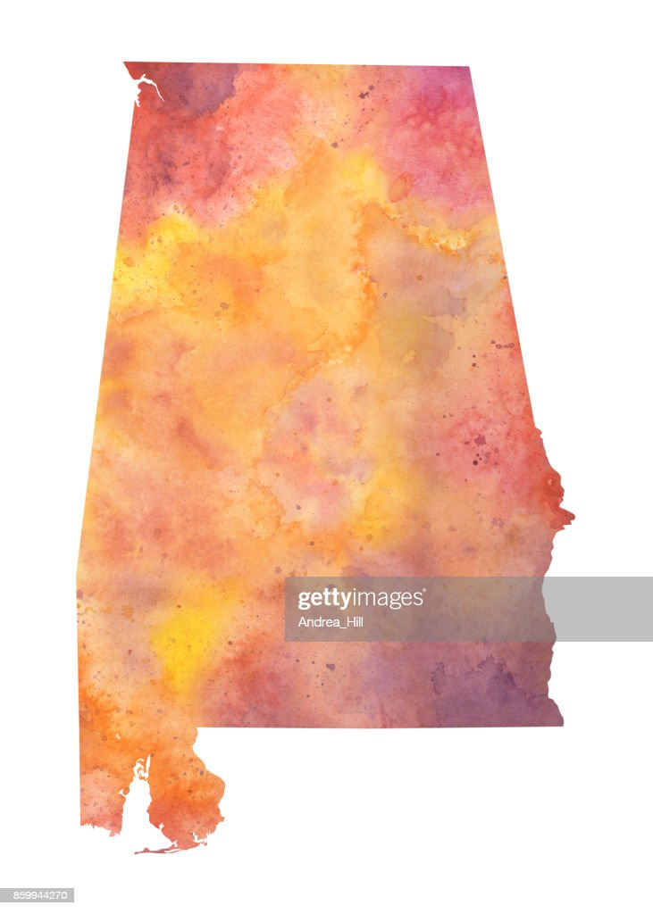 Watercolor Map of the US state of Alabama in Autumn Colors : stock illustration