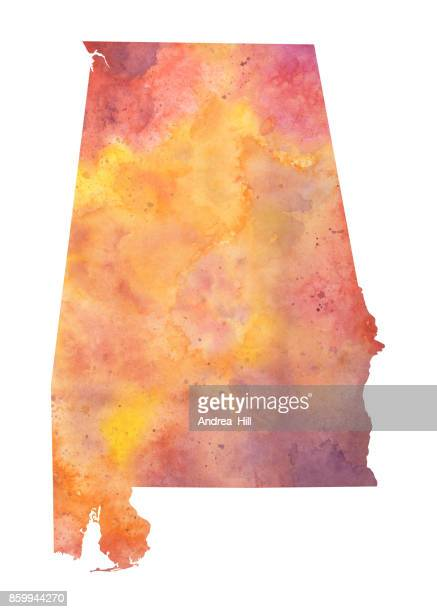 watercolor map of the us state of alabama in autumn colors - alabama us state stock illustrations, clip art, cartoons, & icons
