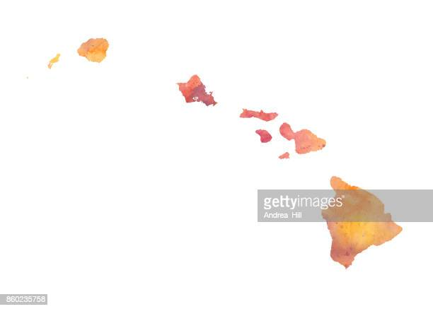Watercolor Map of the US state of Hawaii in Autumn Colors