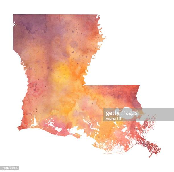 watercolor map of the us state of louisiana in autumn colors - louisiana stock illustrations, clip art, cartoons, & icons