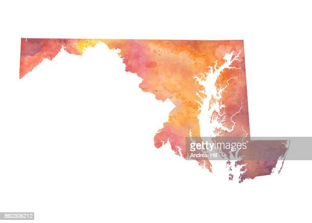 watercolor map of the us state of maryland in autumn colors - maryland us state stock illustrations, clip art, cartoons, & icons