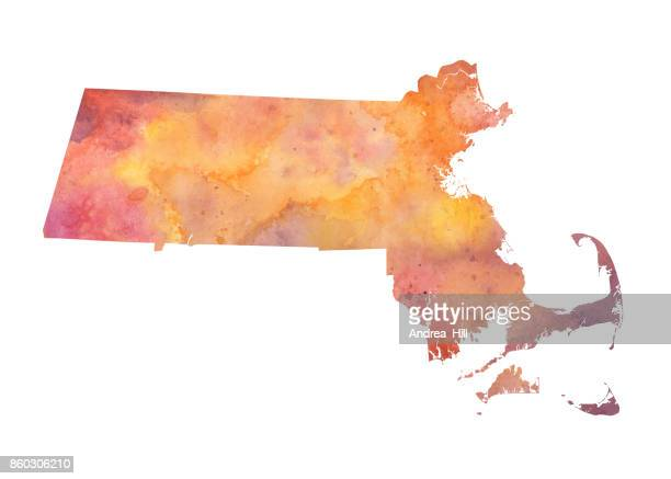 Watercolor Map of the US state of Massachusetts in Autumn Colors