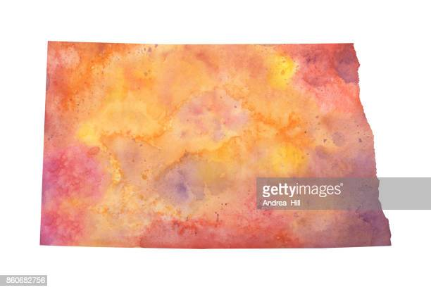 Watercolor Map of the US state of North Dakota in Autumn Colors