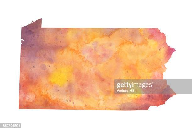 Watercolor Map of the US state of Pennsylvania in Autumn Colors