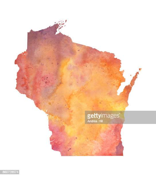 Watercolor Map of the US state of Wisconsin in Autumn Colors