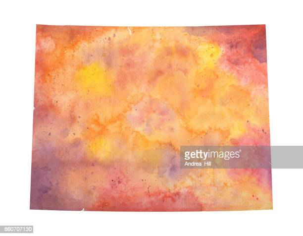 Watercolor Map of the US state of Wyoming in Autumn Colors