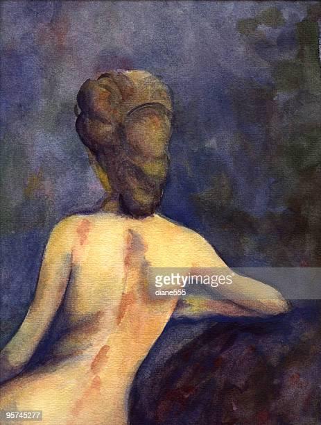 ilustraciones, imágenes clip art, dibujos animados e iconos de stock de acuarela desnudos - mujer desnuda