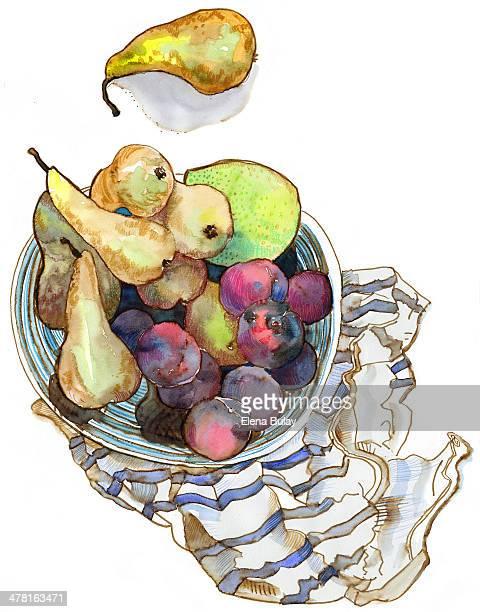 ilustrações de stock, clip art, desenhos animados e ícones de a watercolor painting of a bowl of fruit - cesta de fruta