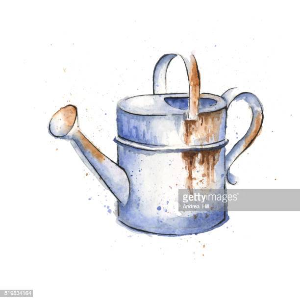 watercolor painting of a rusty watering can, spring illustration - watering can stock illustrations, clip art, cartoons, & icons