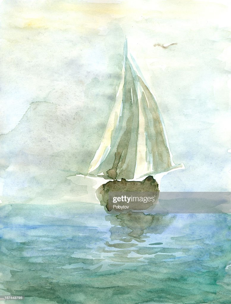 Watercolor painting of a yacht at sea : stock illustration