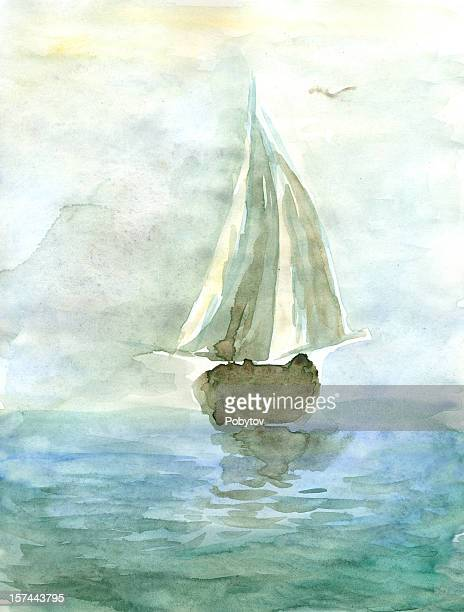 watercolor painting of a yacht at sea - seascape stock illustrations