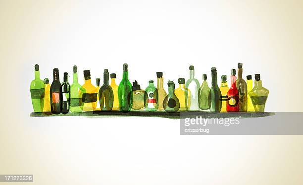 watercolor painting of alcohol bottles on shelf - beer alcohol stock illustrations, clip art, cartoons, & icons