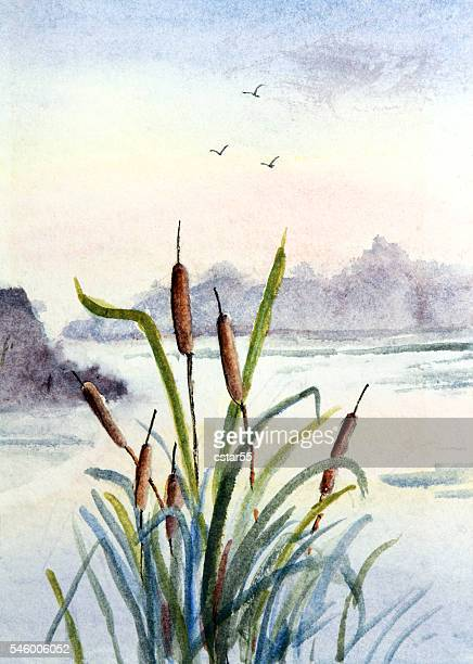 Watercolor painting of cattails with water and mountains