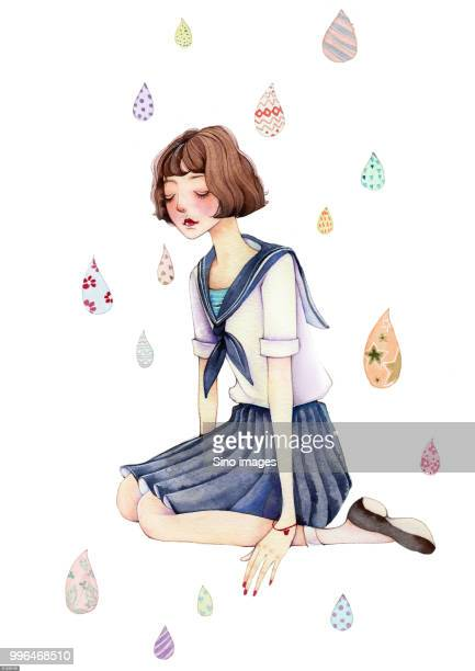 watercolor painting of girl in school uniform with rain drops - one teenage girl only stock illustrations