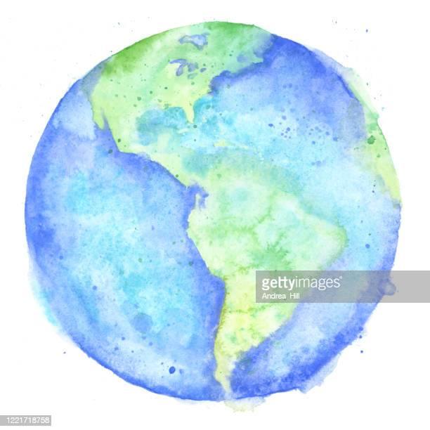 illustrazioni stock, clip art, cartoni animati e icone di tendenza di pittura ad acquerello della terra - raster illustration - giornata mondiale della terra