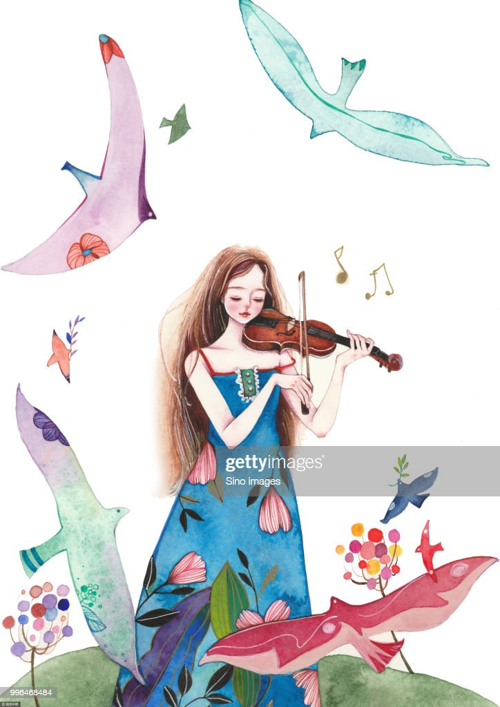 Watercolor Painting Of Woman In Dress Playing Violin And Birds Flying Around Stock Illustration
