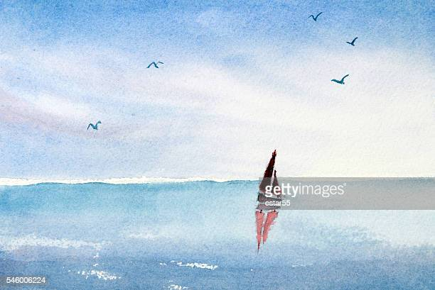 Watercolor painting sail boat on an ocean or lake