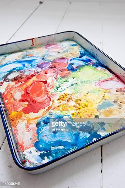 watercolor palette in an artist's studio