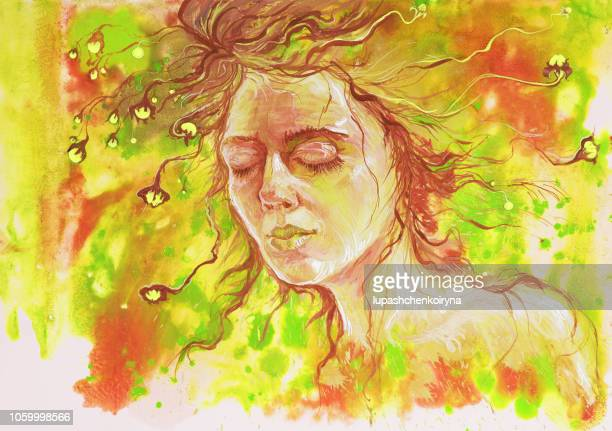 watercolor portrait of a fashionable illustration of a sleeping girl - alternative therapy stock illustrations, clip art, cartoons, & icons