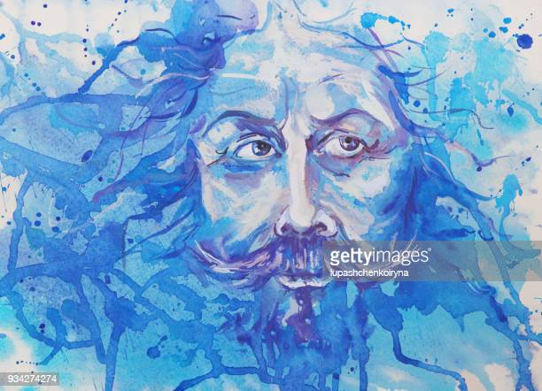 watercolor portrait of a man with long hair - beard stock illustrations, clip art, cartoons, & icons