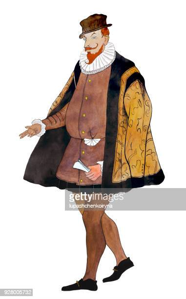 Watercolor portrait of an aristocrat in a brown historical costume.