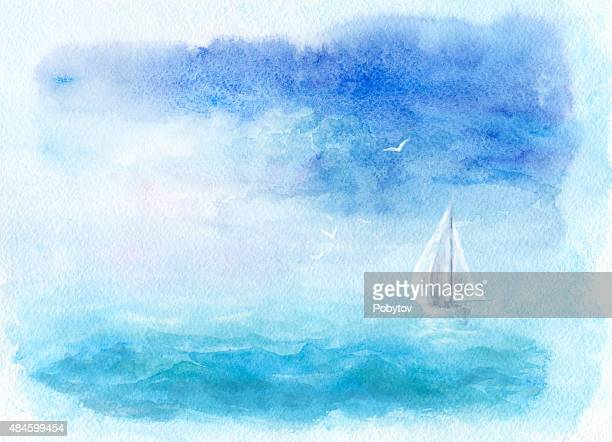 Watercolor sea and yacht