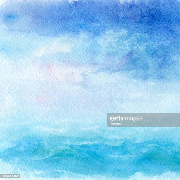 watercolor sea background - seascape stock illustrations, clip art, cartoons, & icons